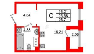 Квартира в ЖК Принцип, студия, 27.74 м², 6 этаж