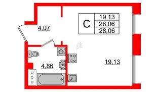 Квартира в ЖК Принцип, студия, 28.06 м², 4 этаж