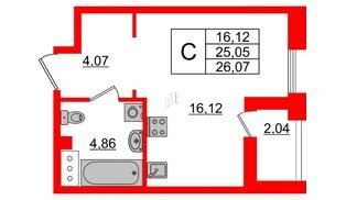 Квартира в ЖК Принцип, студия, 27.09 м², 6 этаж