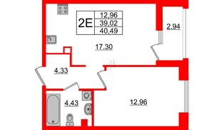 Квартира в ЖК Принцип, 1 комнатная, 41.96 м², 2 этаж
