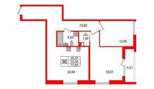 Квартира в ЖК Принцип, 2 комнатная, 79.76 м², 2 этаж