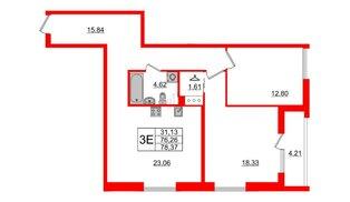 Квартира в ЖК Принцип, 2 комнатная, 80.47 м², 3 этаж