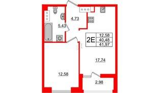 Квартира в ЖК Принцип, 1 комнатная, 43.46 м², 6 этаж