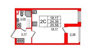 Квартира в ЖК «Солнечный город», студия, 24.39 м², 8 этаж