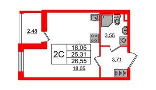Квартира в ЖК «Солнечный город», студия, 25.31 м², 1 этаж