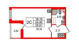 Квартира в ЖК «Солнечный город», студия, 24.4 м², 2 этаж