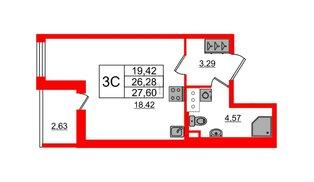 Квартира в ЖК «Солнечный город», студия, 26.28 м², 3 этаж