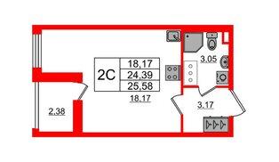 Квартира в ЖК «Солнечный город», студия, 24.39 м², 2 этаж