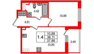 Квартира в ЖК «Солнечный город», 1 комнатная, 36.11 м², 2 этаж