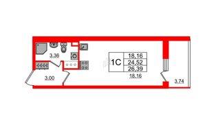 Квартира в ЖК «Солнечный город», студия, 24.52 м², 2 этаж
