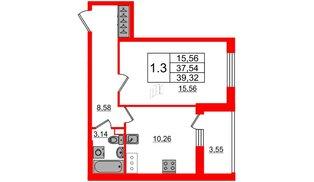 Квартира в ЖК «Солнечный город», 1 комнатная, 37.54 м², 7 этаж