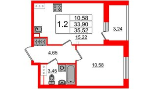Квартира в ЖК «Солнечный город», 1 комнатная, 33.9 м², 5 этаж