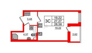 Квартира в ЖК «Солнечный город», студия, 27.27 м², 2 этаж