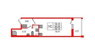 Квартира в ЖК «Солнечный город», студия, 26.26 м², 2 этаж