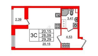 Квартира в ЖК «Солнечный город», студия, 28.09 м², 7 этаж