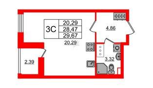 Квартира в ЖК «Солнечный город», студия, 28.47 м², 7 этаж