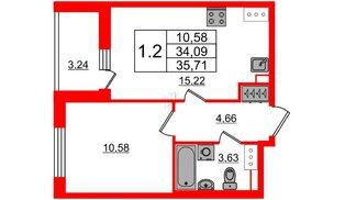 Квартира в ЖК «Солнечный город», 1 комнатная, 34.09 м², 2 этаж