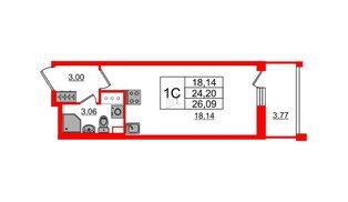 Квартира в ЖК «Солнечный город», студия, 24.2 м², 2 этаж