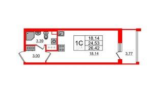 Квартира в ЖК «Солнечный город», студия, 24.53 м², 2 этаж