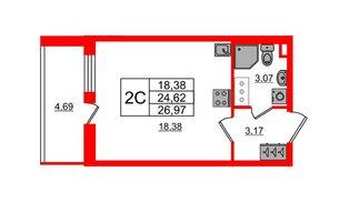 Квартира в ЖК «Солнечный город», студия, 24.62 м², 2 этаж