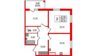 Квартира в ЖК «IQ», 2 комнатная, 62.02 м², 2 этаж