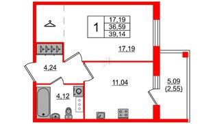 Квартира в ЖК «IQ», 1 комнатная, 39.14 м², 2 этаж