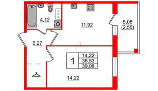 Квартира в ЖК «IQ», 1 комнатная, 39.08 м², 2 этаж