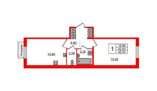 Квартира в ЖК «IQ», 1 комнатная, 42.53 м², 1 этаж