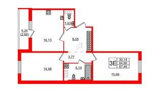 Квартира в ЖК «IQ», 2 комнатная, 67.46 м², 2 этаж