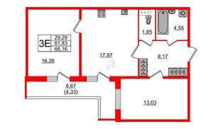 Квартира в ЖК «IQ», 2 комнатная, 66.16 м², 2 этаж
