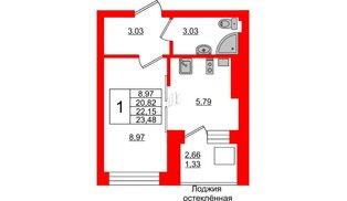 Квартира в ЖК Олимпия-1, студия, 22.15 м², 5 этаж