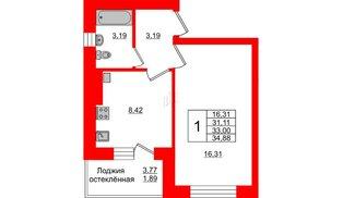 Квартира в ЖК Олимпия-1, 1 комнатная, 33 м², 1 этаж