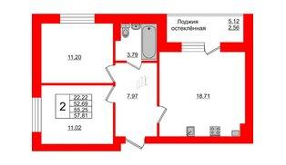 Квартира в ЖК Олимпия-1, 2 комнатная, 55.25 м², 2 этаж