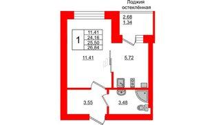 Квартира в ЖК Олимпия-1, студия, 25.5 м², 1 этаж
