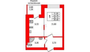 Квартира в ЖК Олимпия-1, студия, 25.12 м², 7 этаж