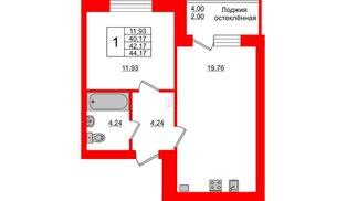 Квартира в ЖК Олимпия-1, 1 комнатная, 42.17 м², 2 этаж