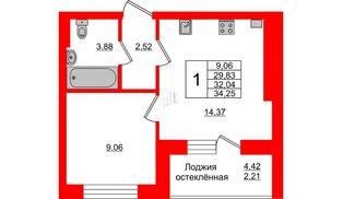Квартира в ЖК Олимпия-1, 1 комнатная, 32.04 м², 5 этаж