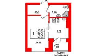 Квартира в ЖК Олимпия-1, студия, 24.77 м², 2 этаж