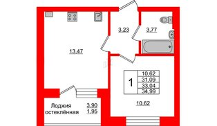 Квартира в ЖК Олимпия-1, 1 комнатная, 33.04 м², 2 этаж