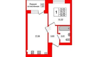 Квартира в ЖК Олимпия-1, 1 комнатная, 37.56 м², 2 этаж