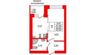 Квартира в ЖК Олимпия-1, студия, 22.54 м², 5 этаж