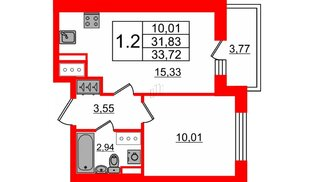 Квартира в ЖК Стрижи в Невском 2, 1 комнатная, 31.83 м², 12 этаж