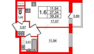 Квартира в ЖК Стрижи в Невском 2, 1 комнатная, 37.34 м², 11 этаж