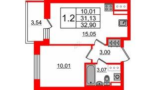 Квартира в ЖК Стрижи в Невском 2, 1 комнатная, 31.13 м², 9 этаж