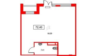 Помещение в ЖК ID Park Pobedy, 72.4 м², 1 этаж