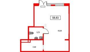 Помещение в ЖК ID Park Pobedy, 58.83 м², 1 этаж