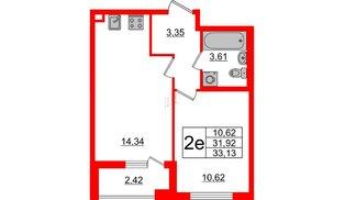 Квартира в ЖК Морская набережная 2, 1 комнатная, 33.13 м², 2 этаж