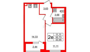 Квартира в ЖК Морская набережная 2, 1 комнатная, 33.95 м², 4 этаж