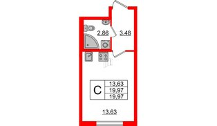 Квартира в ЖК Морская набережная 2, студия, 19.97 м², 14 этаж