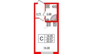 Квартира в ЖК Морская набережная 2, студия, 20.57 м², 2 этаж